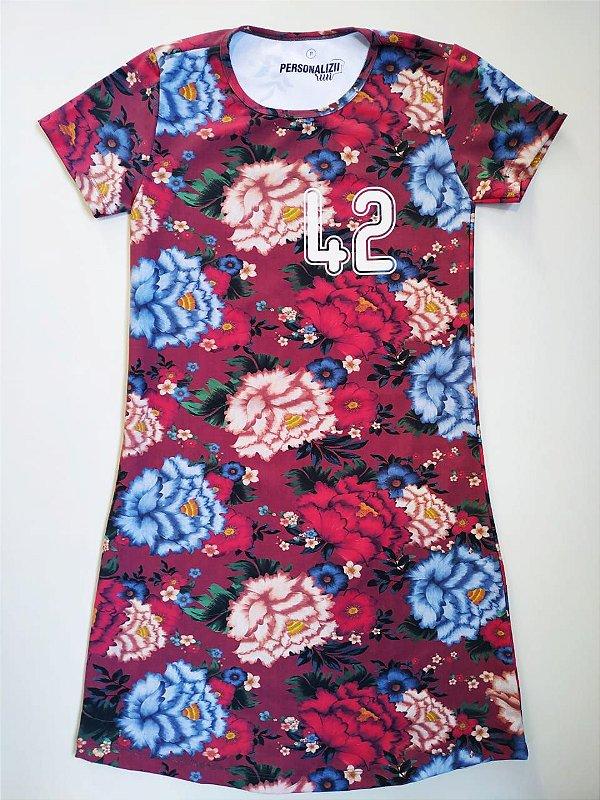 Vestido Estampado Bordô Floral 42km