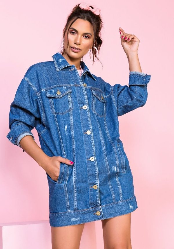Jaqueta jeans oversized clássica