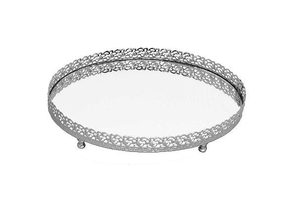 bandeja oval prata espelhada 17 x 22 cm