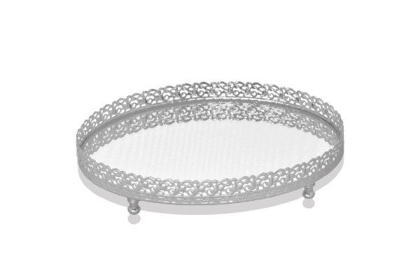 bandeja oval prata espelhada 14 x 22 cm