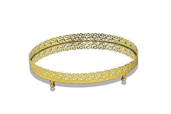 bandeja oval ouro espelhada 14 x 22 cm