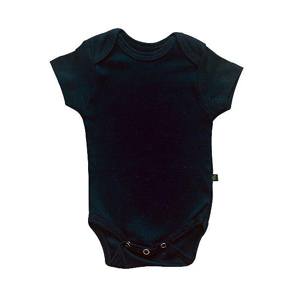 Body Bebê Manga Curta Liso Preto