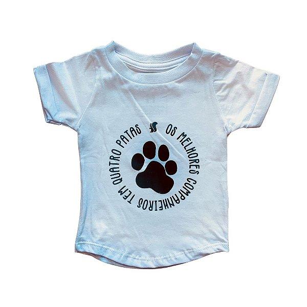 Camiseta Bebê Long Animais Branca