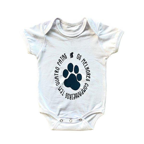 Body Bebê Algodão Orgânico Animais Branco