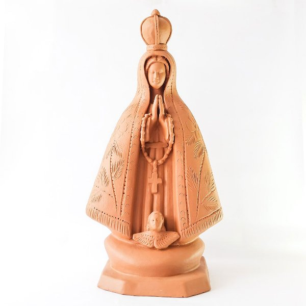 Nossa Sra. Aparecida grande cerâmica natural
