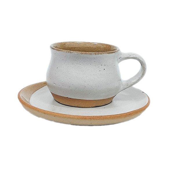 Xícara com alça e pires branco - 110 ml
