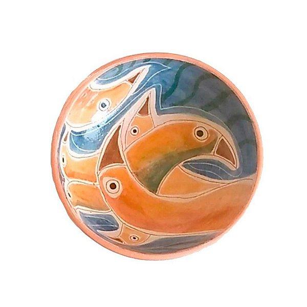 Cumbuca pássaros em cerâmica vitrificada