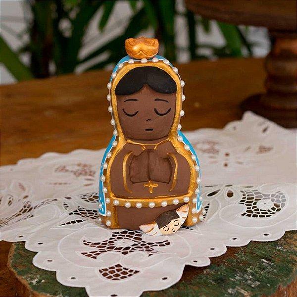 Escultura de Nossa Sra Aparecida em cerâmica