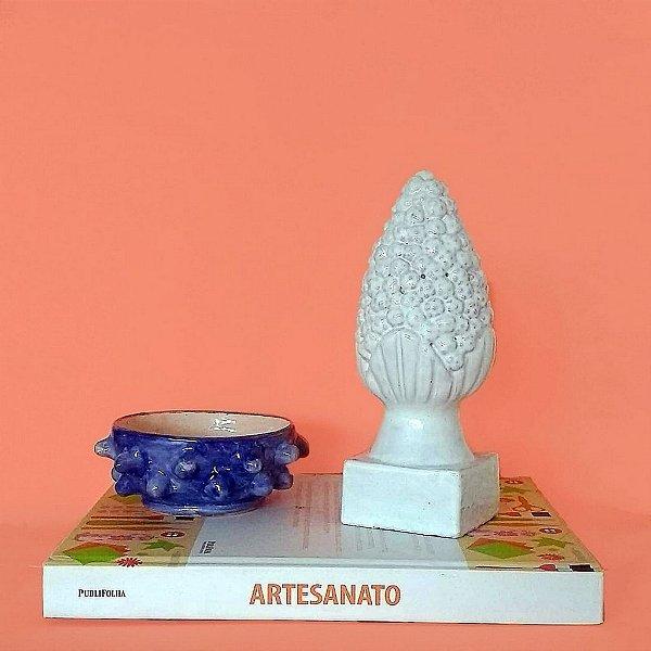 Pinha Tradicional branca pequena em cerâmica vitrificada