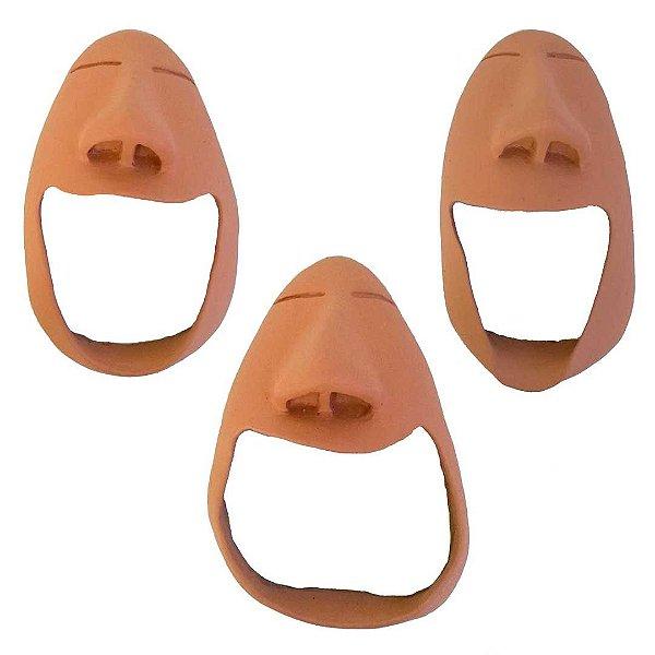 Máscara do bocejo e do sorriso em cerâmica natural média
