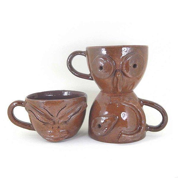 Conjunto com 03 xícaras exclusivas em cerâmica vitrificada