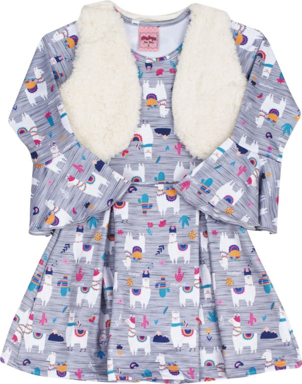 Vestido com Colete Lhama Roxo - Serelepe Kids