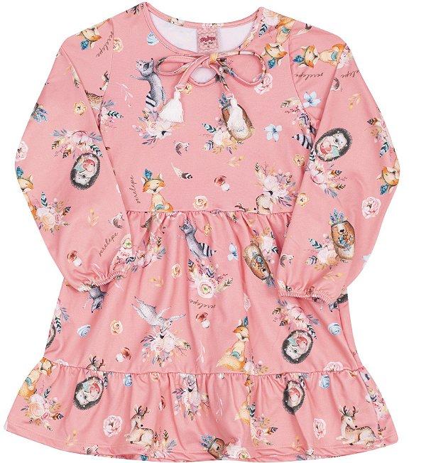 Vestido Animais da Floresta Rosa - Serelepe Kids