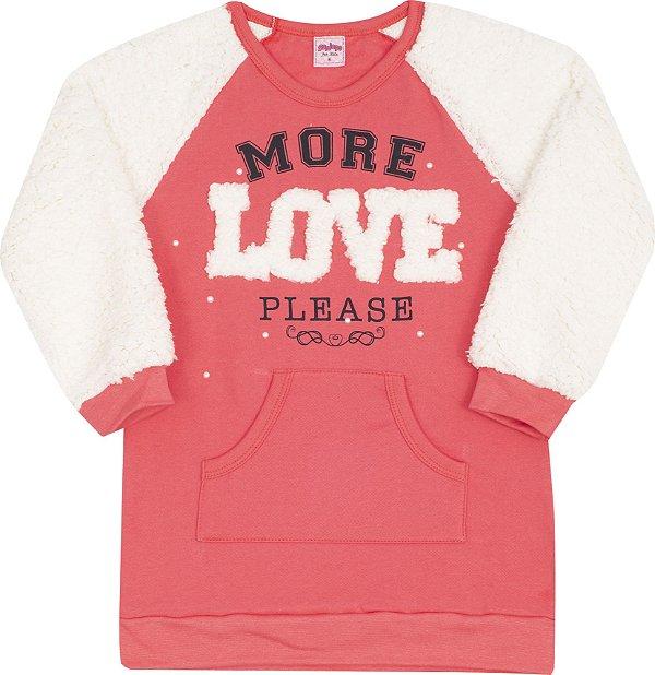 Vestido em Moletom Love Pink - Serelepe Kids