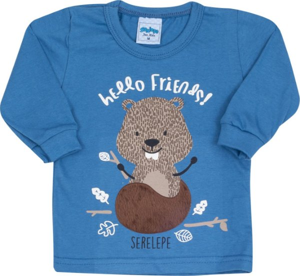Blusa Avulsa Hello Friends Azul - Serelepe Kids