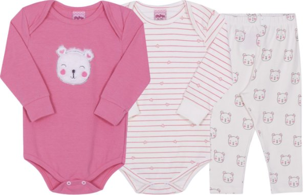 kit Body Urso Pétala - Serelepe kids