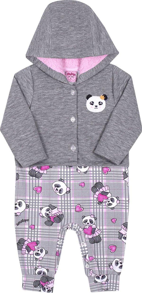 Macacão em Moletom Panda Mescla - Serelepe Kids