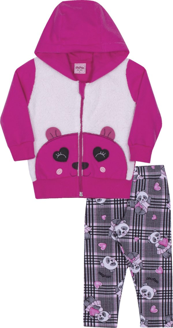 Conjunto em Moletom Panda Pink - Serelepe Kids