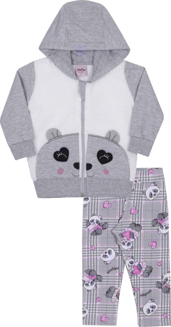 Conjunto em Moletom Panda Mescla  - Serelepe Kids