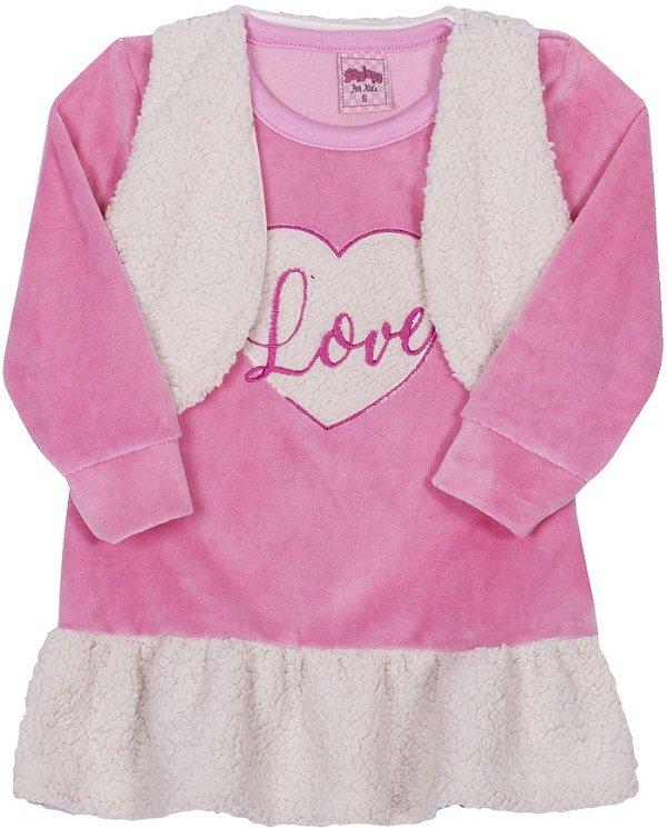 Vestido Love Rosa flor - Serelepe Kids