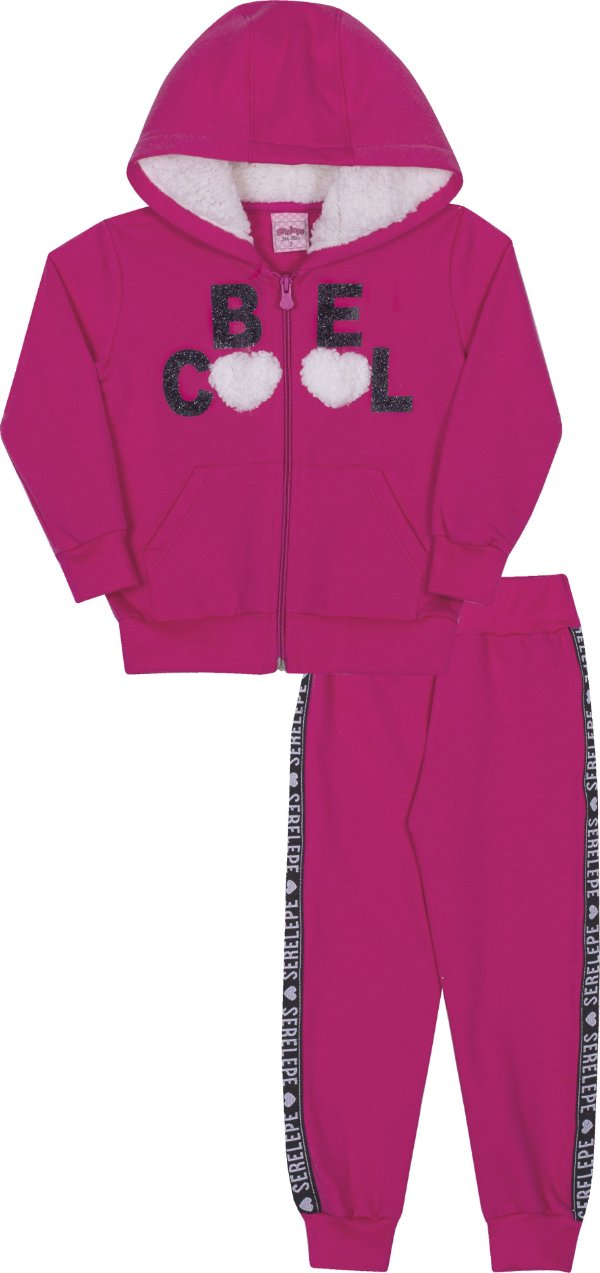 Conjunto em Moletom Be Cool Pink - Serelepe Kids