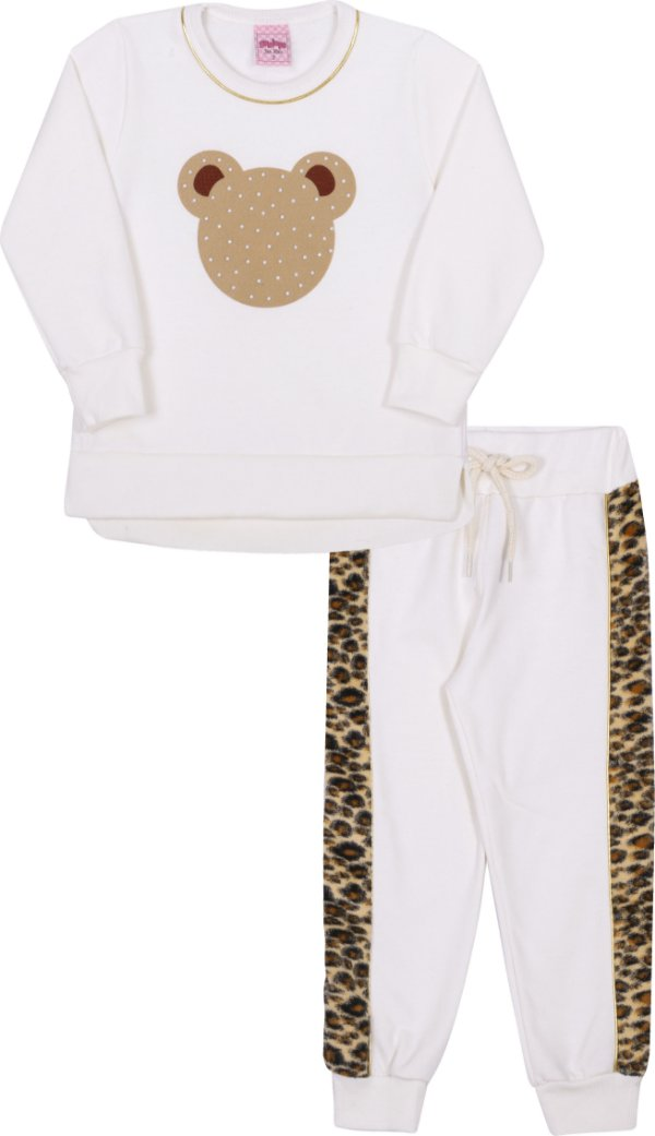 Conjunto em Moletom Urso Off White - Serelepe Kids