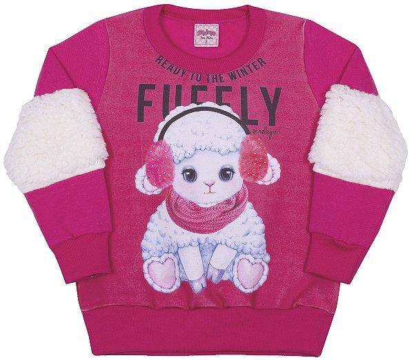 Blusão em Moletom Ovelha Pink - Serelepe Kids