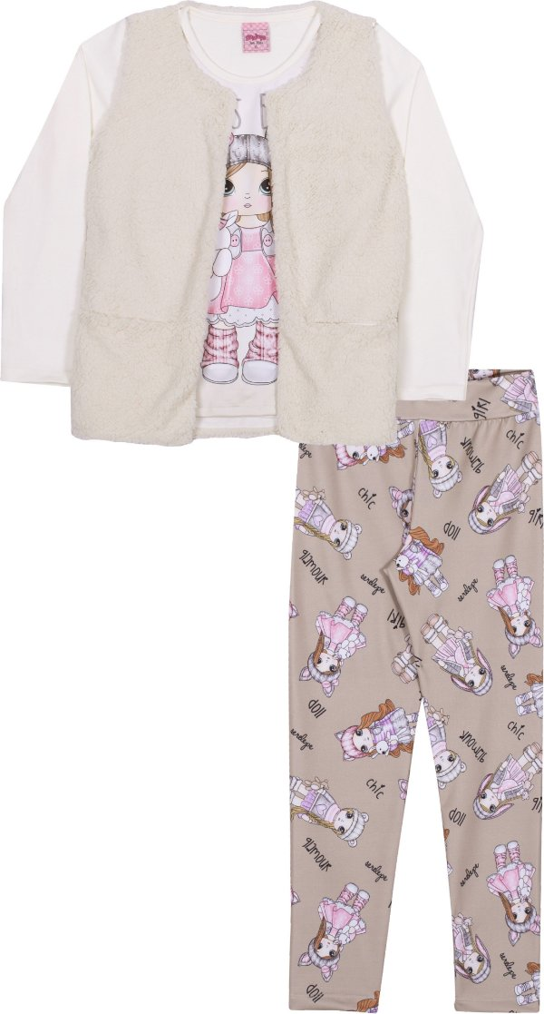 Kit 3 Peças em Cotton Girl Off White - Serelepe Kids