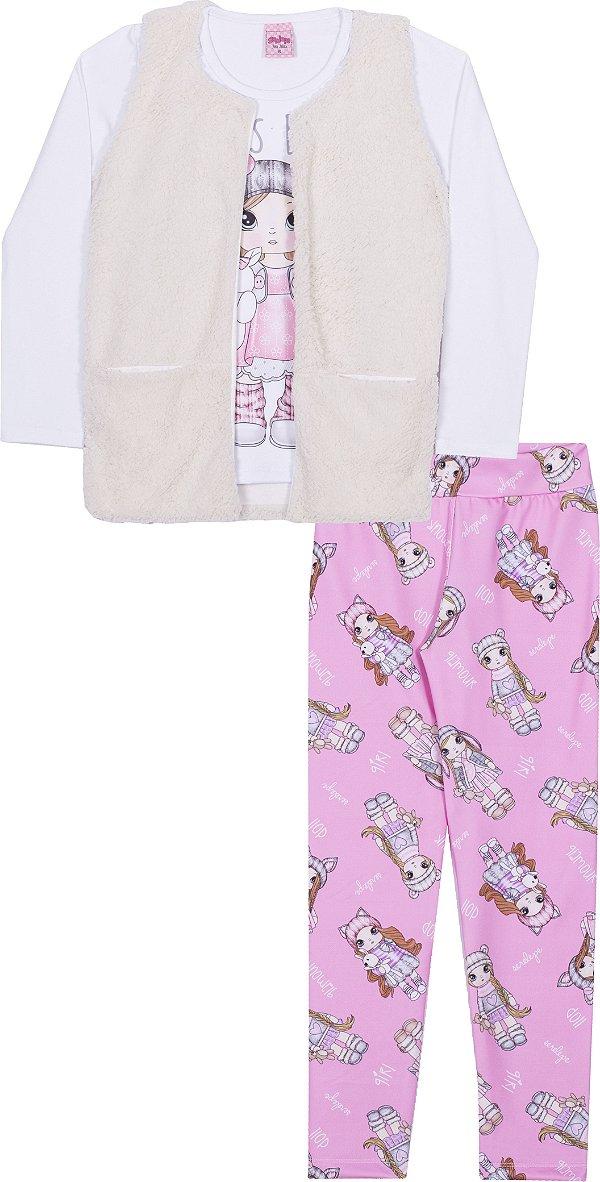 Kit 3 Peças em Cotton Girl Branco - Serelepe Kids