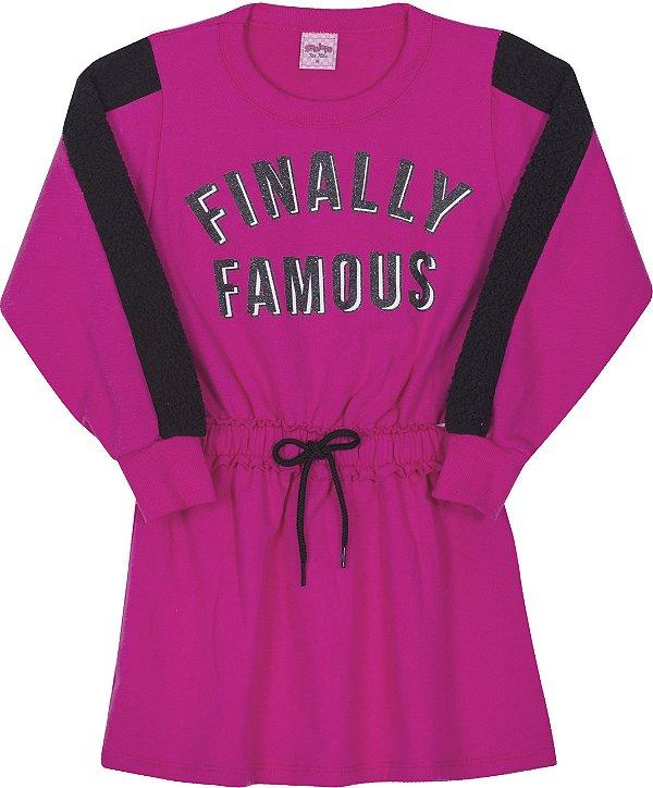 Vestido em Moletom Finally Pink - Serelepe Kids