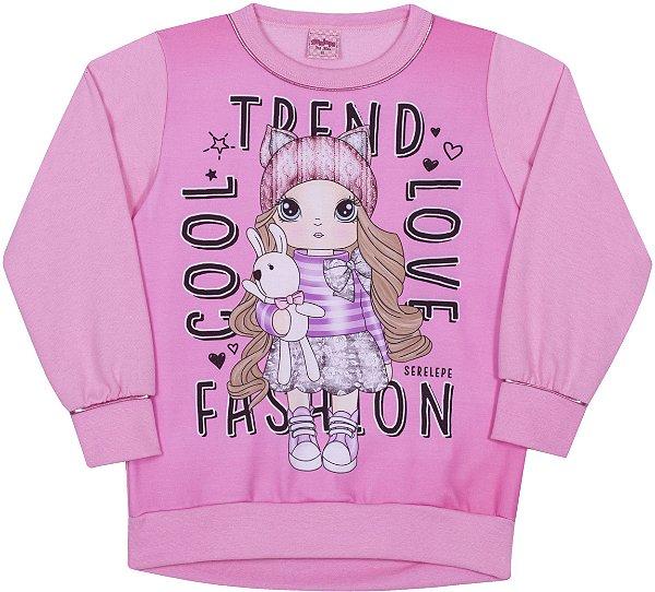 Blusão em Moletom Fashion Begonia - Serelepe Kids
