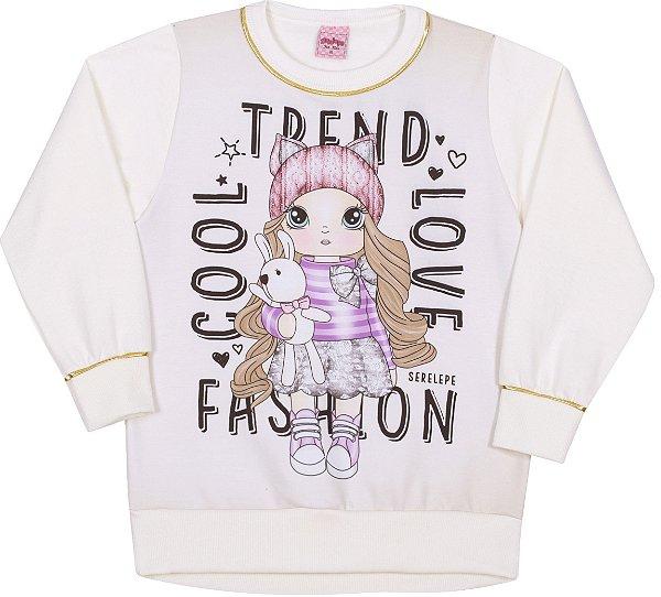 Blusão em Moletom Fashion Off White - Serelepe Kids