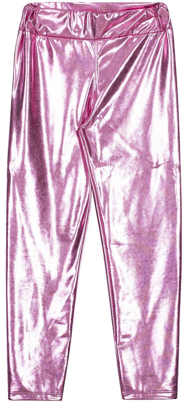 Calça Avulsa em Cirrê Metalizado Rosa - Serelepe Kids