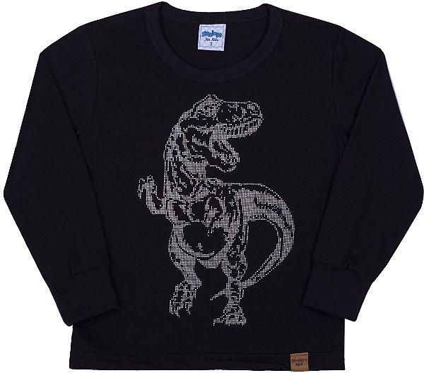 Camiseta Avulsa Infantil Dinossauro Preto - Serelepe Kids