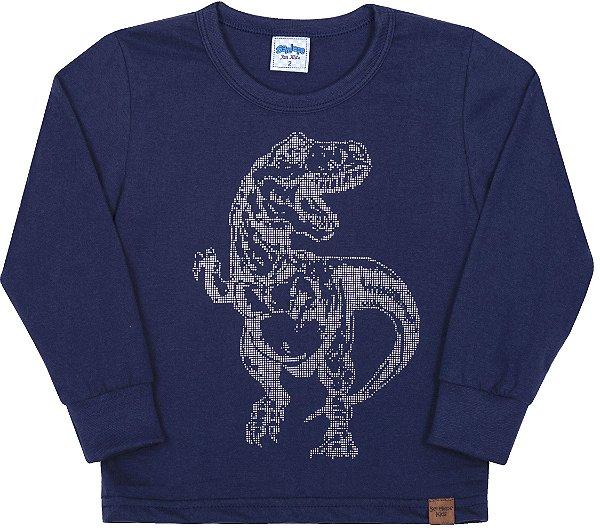 Camiseta Avulsa Infantil Dinossauro Marinho - Serelepe Kids