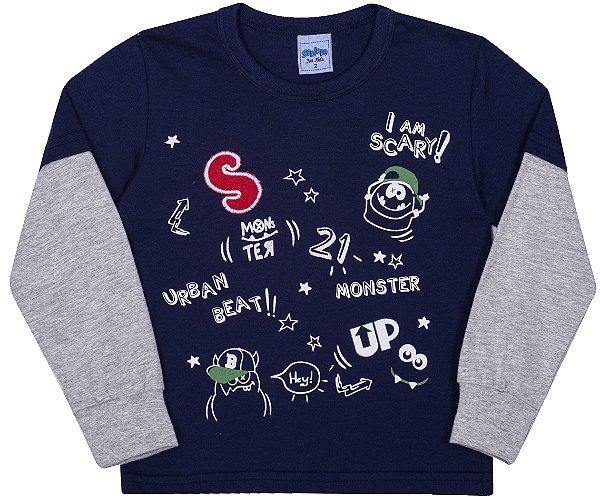 Camiseta Avulsa Infantil Monster Marinho - Serelepe Kids