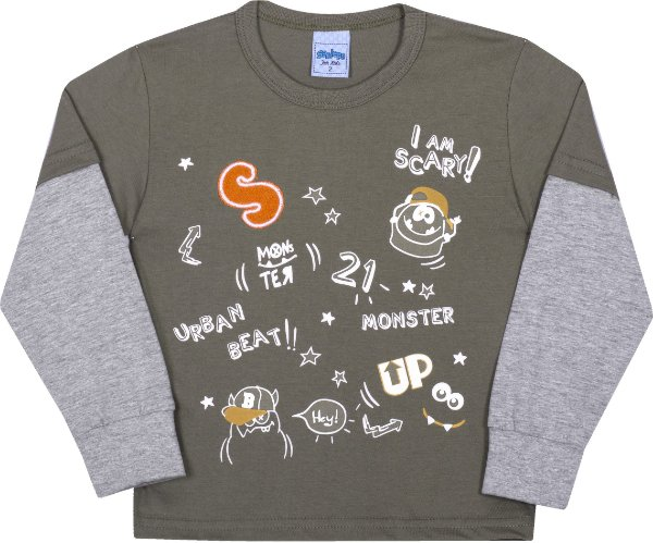 Camiseta Avulsa Infantil Monster Cactus - Serelepe Kids