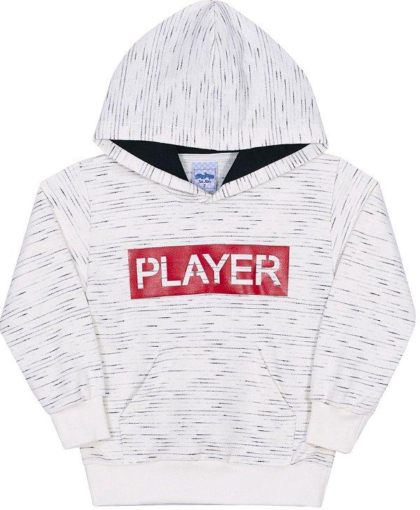 Blusão Infantil em Moletom Player Off White - Serelepe Kids