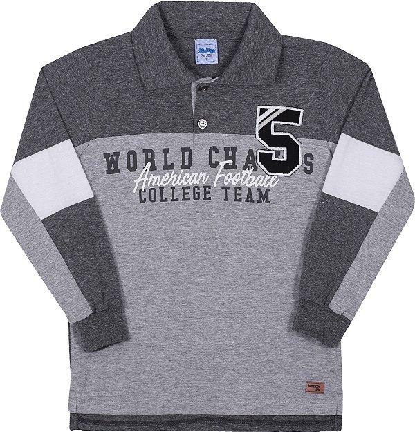 Camiseta Polo Avulsa Infantil College Team Mescla Escuro - Serelepe Kids