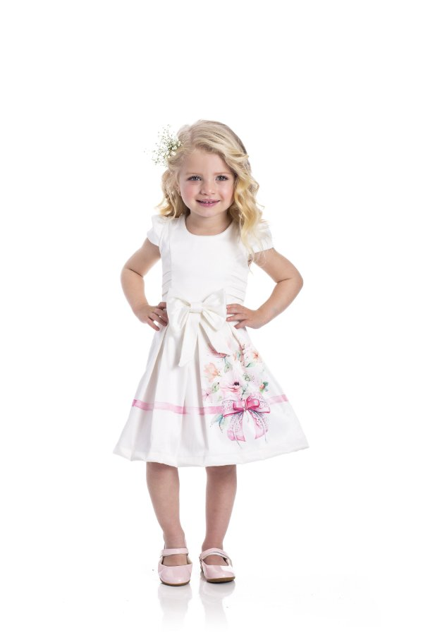 Vestido em Cotton Cetim Delicato Off White - Miss Lepe