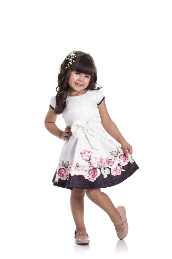 Vestido em Cotton Cetim Listras Off White - Miss Lepe