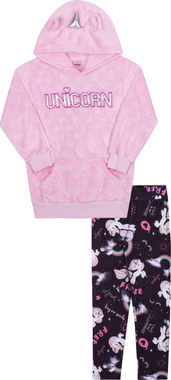Conjunto Unicornio Peluciado Rosa - Serelepe Kids