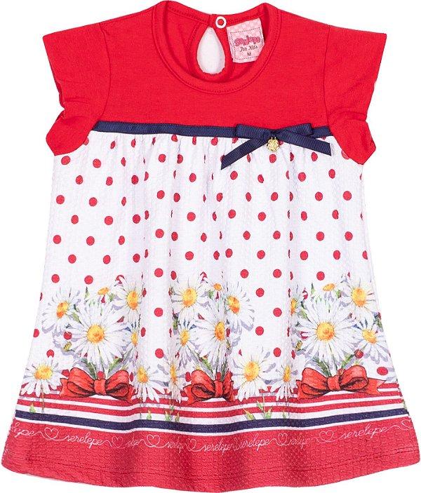 Vestido em cotton Margaridas Vermelho - Serelepe Kids