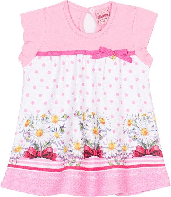 Vestido em cotton Margaridas Bêgonia - Serelepe Kids