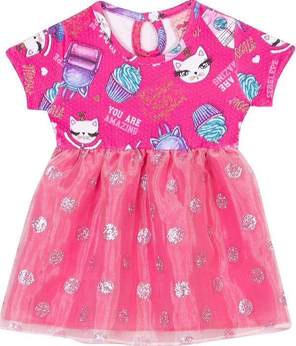 Vestido Cats Pink - Serelepe Kids