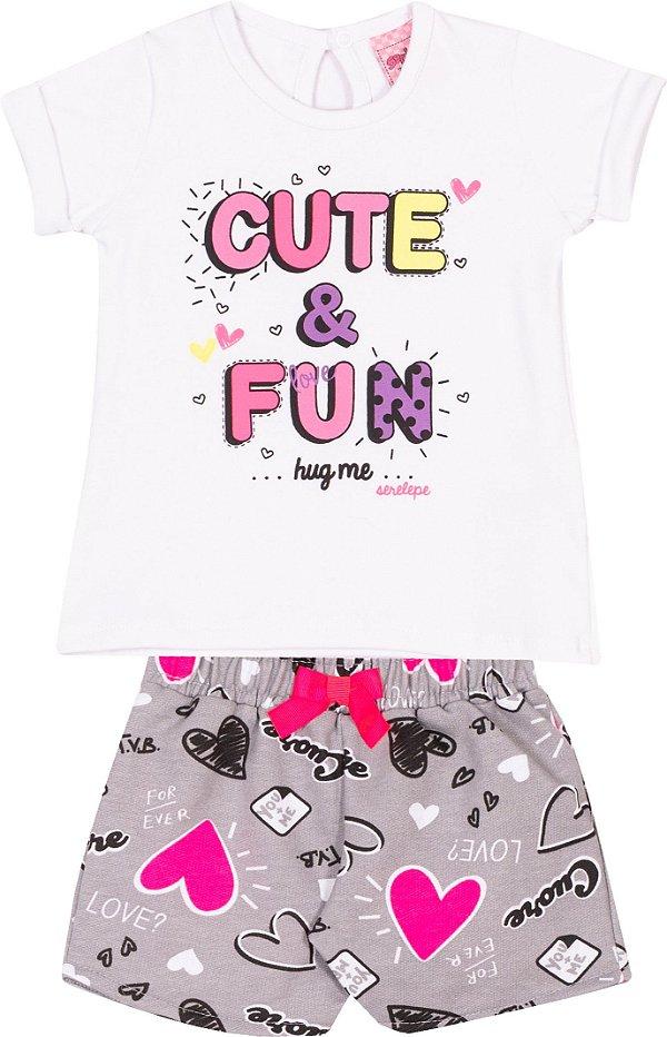 Conjunto Cute & Fun Branco - Serelepe kids