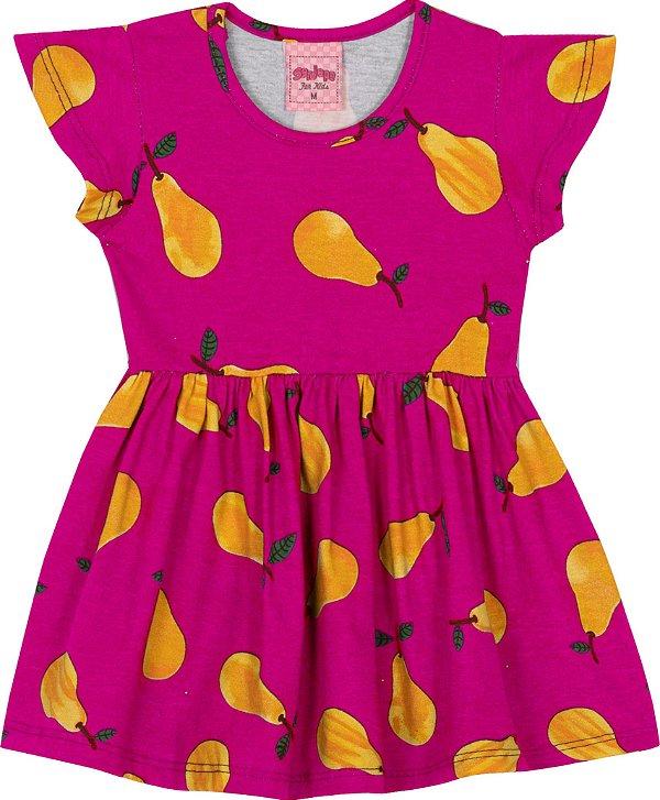 Vestido em meia Malha Pera Pink - Serelepe Kids