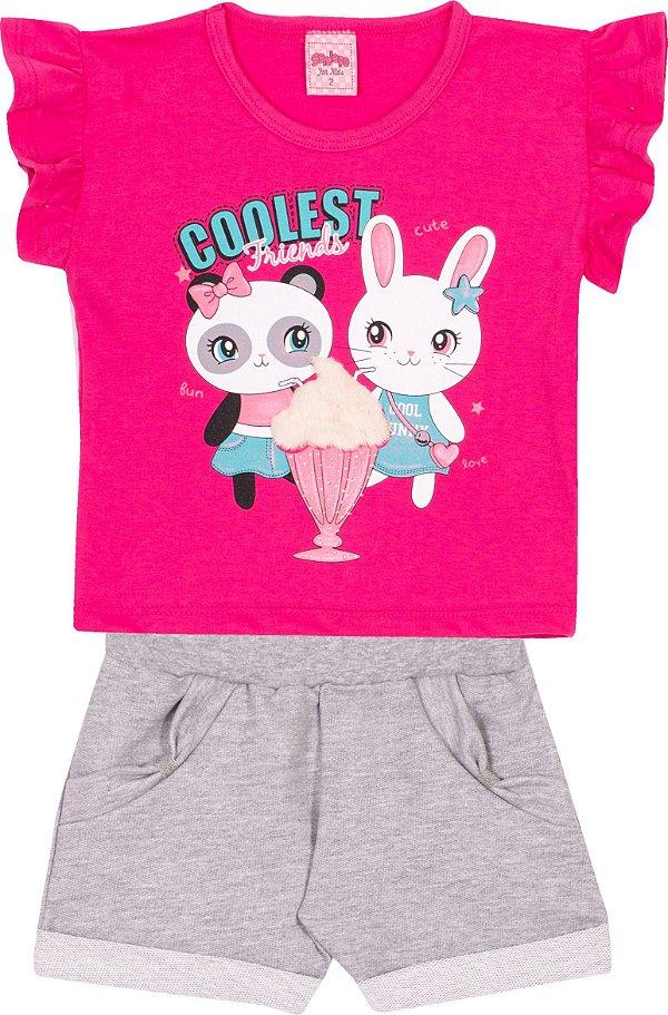 Conjunto em meia Malha Coolest frinds Pink - Serelepe Kids