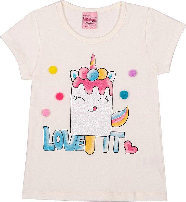 Blusa Avulsa Love It Off White - Serelepe Kids