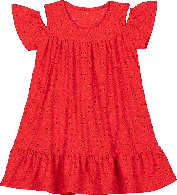 Vestido em Lazzie Vermelho - Serelepe Kids